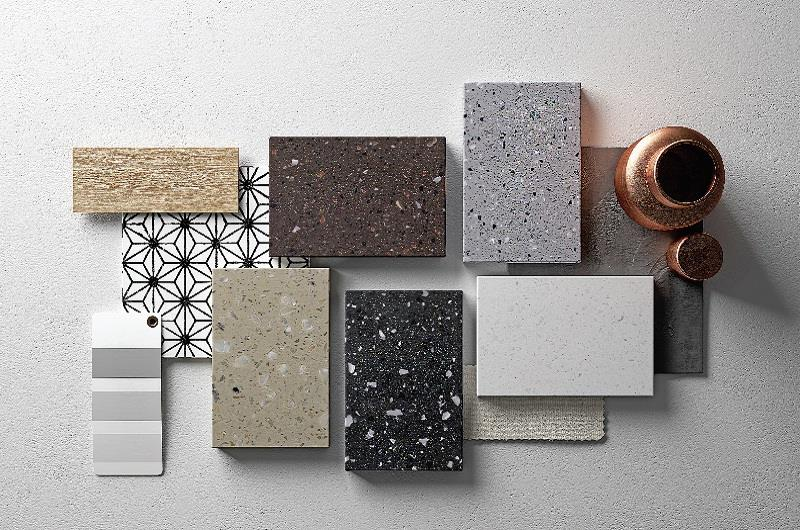 The collection is a subtle combination of the depth of the material with playful tone-on-tone colours. The depth seen in the substance is accomplished by inlaying particles that bring out its organic appearance and create warm inner spaces.