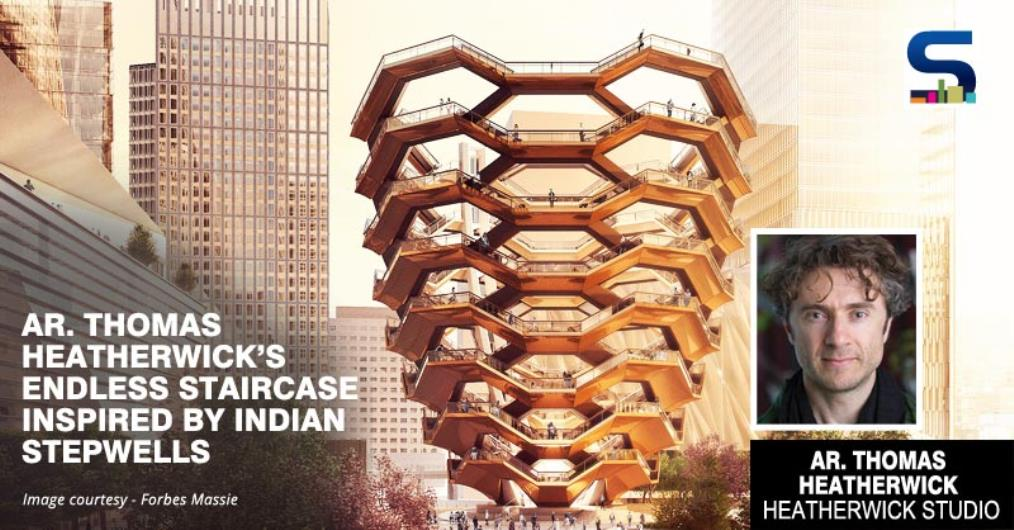 Heatherwick Studio has unveiled a new public landmark for the Hudson Yards development in Manhattan. The structure named 'Vessel' comprises a series of metal-clad staircases and landings that connect to form a honeycomb pattern in the shape of a tall vase or urn.