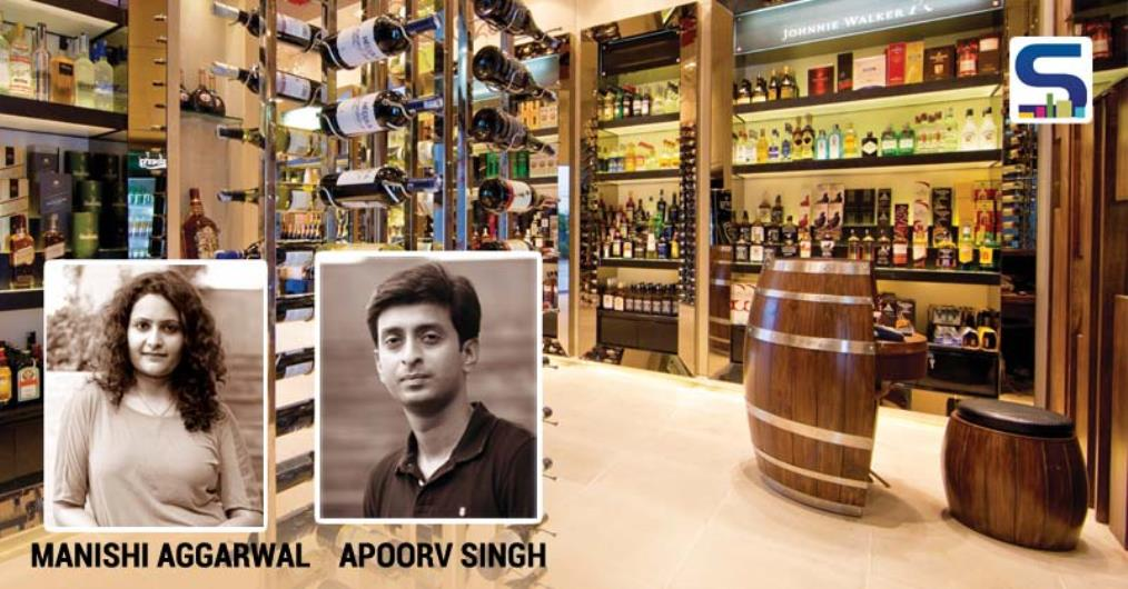"Ar. Manishi & Apoorv say, ""Keeping the product in mind which is reflective glass bottles with colored liquor inside, a conscious decision of giving an earthy and monochromatic look to the store was taken."