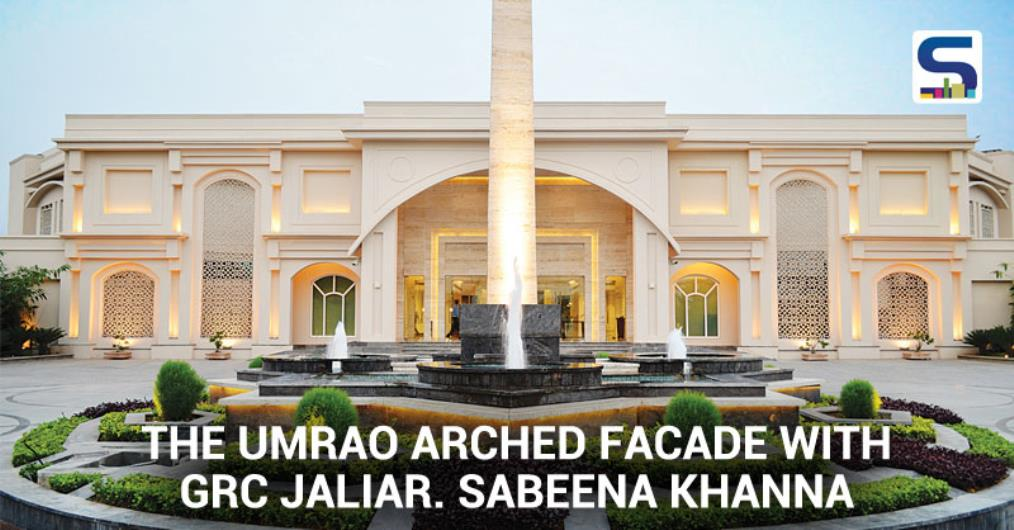 The façade of The Umrao is in plaster, but the effect created due to the ethereallighting and the color palette adopted, makes it look like a sandstone façadewith an ageless grandeur. The façade appears wider owing to the spread..