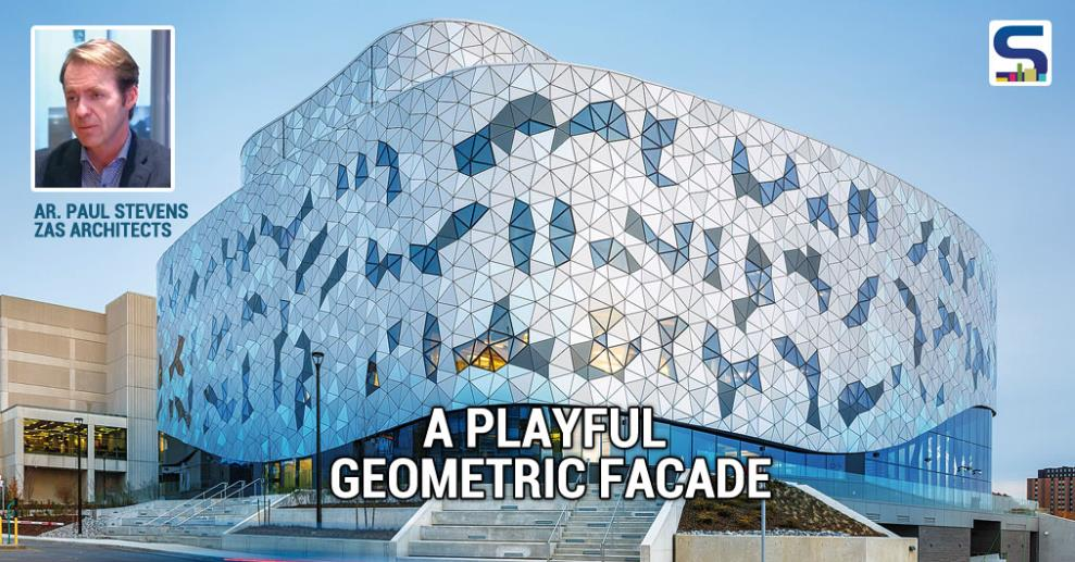 The facade of the building is made from a series of triangles positioned according to a precise algorithm. The passing clouds are reflected in the facade that envelops the innovative interior.