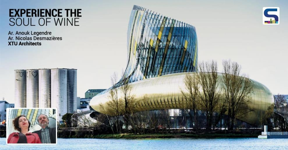 Silk-screen printed glass panels and perforated, lacquered aluminum panels, golden shimmer reminiscent of the light stone found on Bordeaux facades. It explores the global history and tradition of wine production.