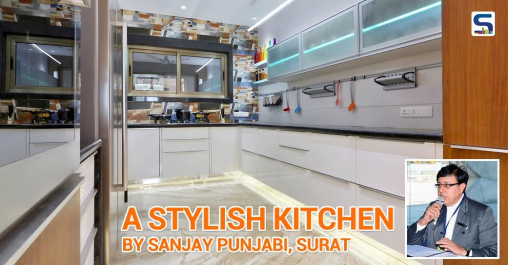Ar. Sanjay Punjabi, Image N Shape, Surat . Highlighter Wall: Layout plan enticed the designer to rethink about the wall of the kitchen to be designed as highlighter. The designer highlighter tiles perfectly graced with the furniture, lights and of course with the beautiful walls.