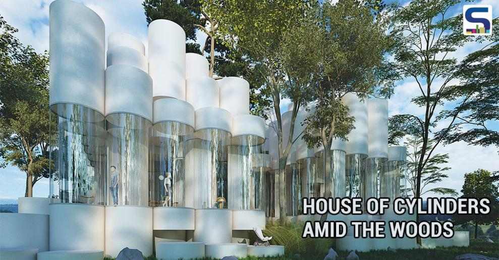 House Of Cylinders Amid The Woods on l shaped house designs, hexagonal house designs, triangular house designs, round tree house designs, box house designs, dome house designs, rectangular house designs, pyramid house designs, pallet house designs, pump house designs, square house designs,