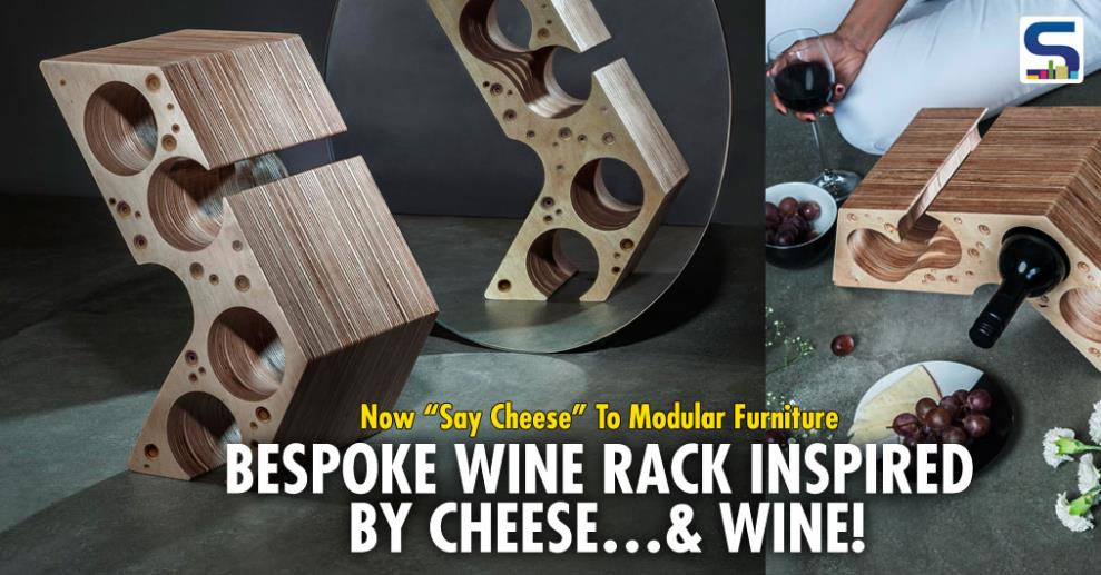 Recently introduced by MuseMART, 'Say Cheese' is a bespoke Wine Rack that is inspired by two of the most aristocratic mouth savories, Wine and Cheese. The product has a set of 8 CNC milled 25mm Birchply layers that are laminated together to form one module.
