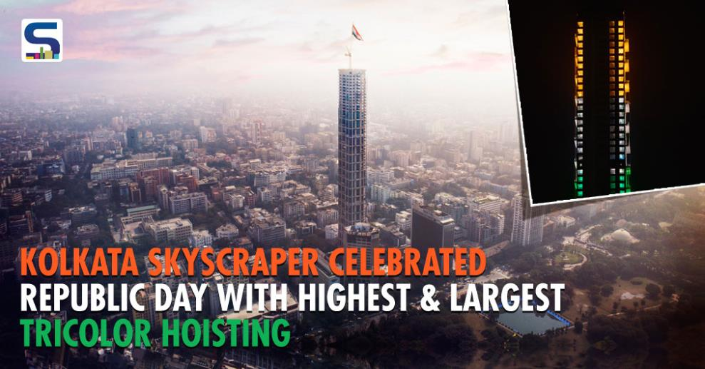 THE 42, residential skyscraper, located in Chowringhee, Kolkata, celebrated nation's 69th our Republic Day by designing a 100 feet x 66 feet Tricolour. The flag size was equivalent to a 10-storeyed building x 7-storeyed building.