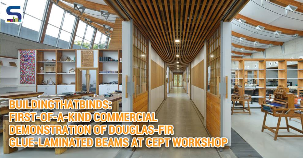 CEPT Centre of Excellence Workshop's commercial demonstration of Douglas-fir glue-laminated beams. The building also showcases varied B.C. wood species in other structural and interior applications.