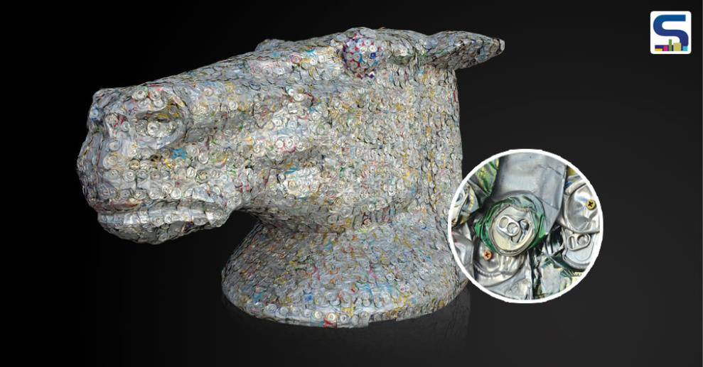 This year's chosen symbol is a horse – the huge horse heads are covered with 4000 pressed aluminium . These empty, pressed containers can be stored and recycled very efficiently.