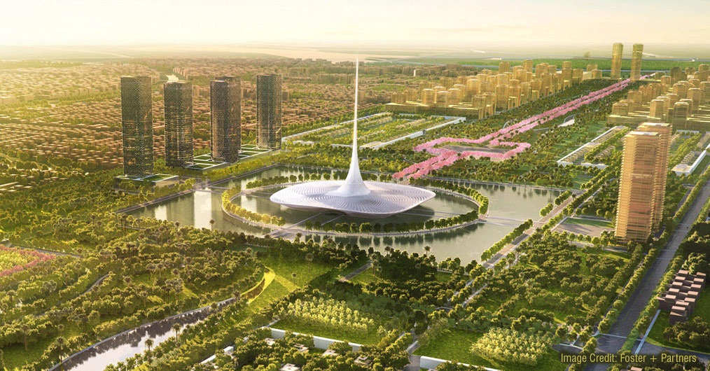 The new administrative state capital of Andhra Pradesh- Amaravati- is set to rise as a sustainable smart city by Foster + Partners