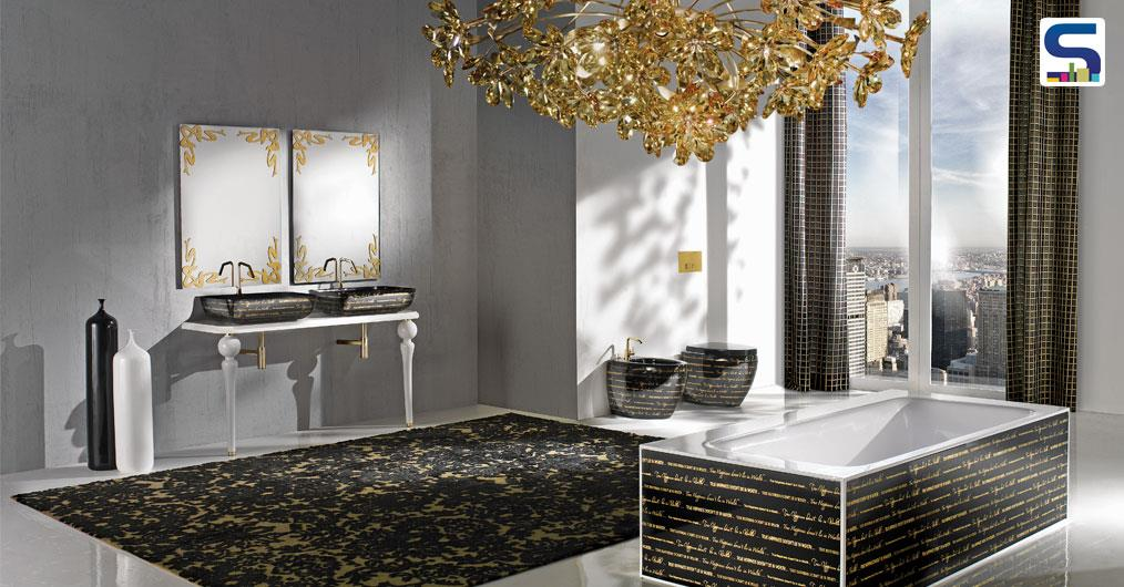 "The Ceramic tubs are available in interesting patterns & finishes like: ""Words"" pattern, ""Nature"" pattern, ""Waves"" pattern and ""Deco"" pattern in gold on gloss black and others."
