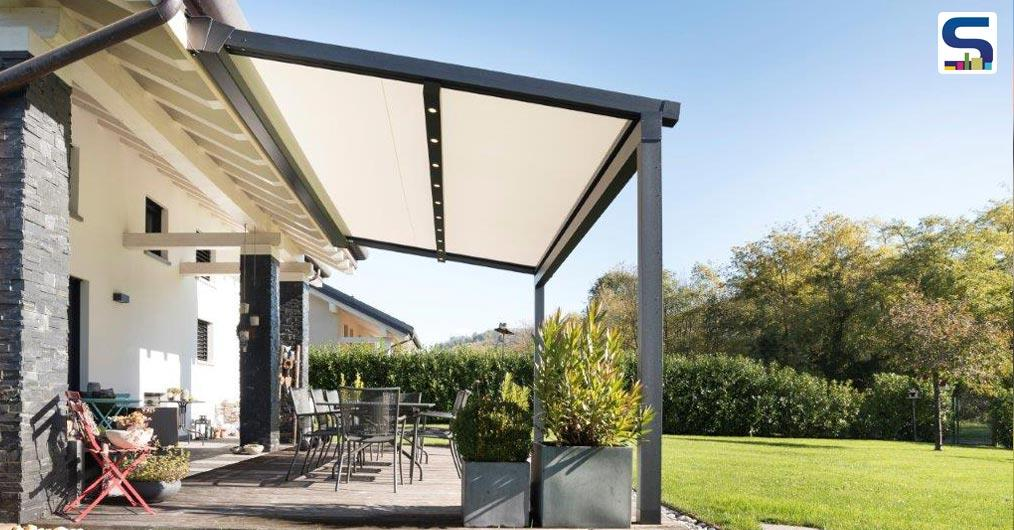 "KE presents XTESA PLAIN, XTESA's ""light"" version, an innovative pergola with winding fabric, instead of the typical packaging model."