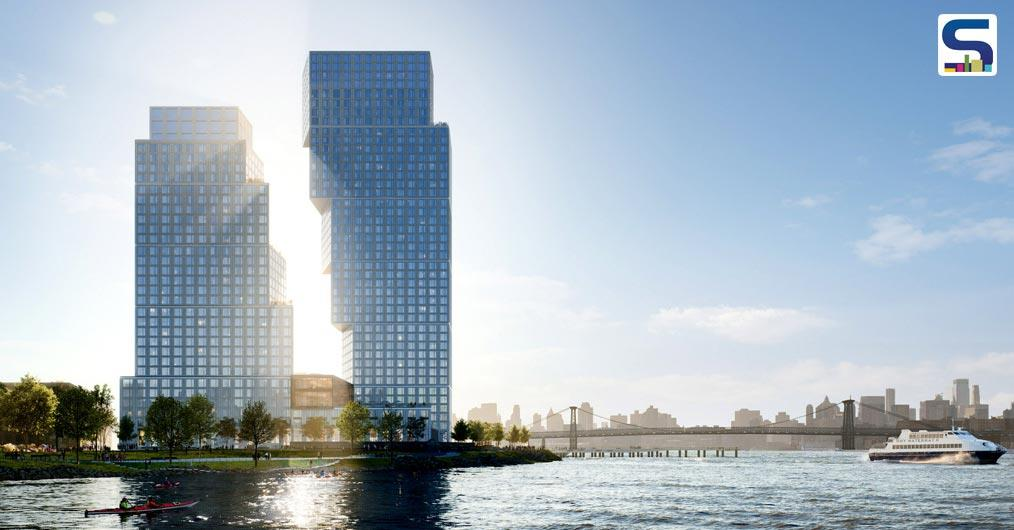 OMA, led by the firm partner Jason Long, has constructed two distinctive looking residential towers at Greenpoint Landing in Brooklyn, New York.