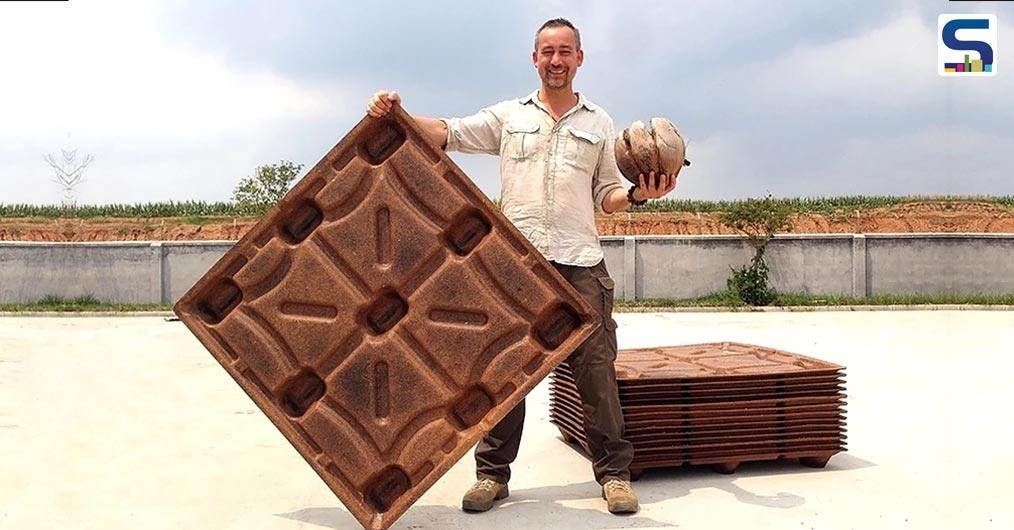 Waste Coconut husks as eco-friendly alternative to wooden or plastic shipping pallets