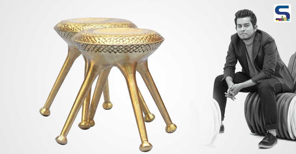 Bordoloi's fascinatingly collection 'Pitoloi' comprises of small stools and a barstool made by cutting sheets of brass and given shape by wooden moulds, with the small pieces joined by an ancient floor-based coal welding technique.