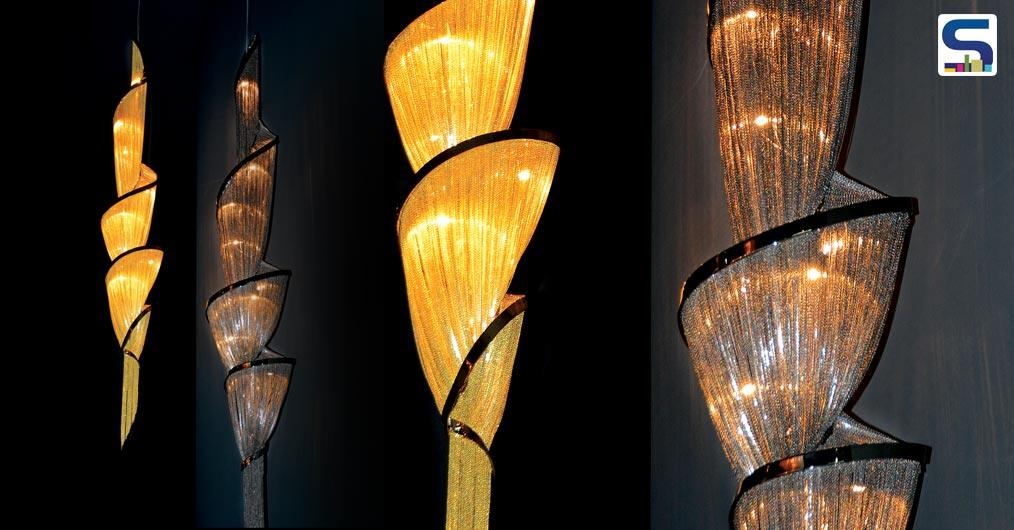 A light sculpture composed of curved, organic lines.