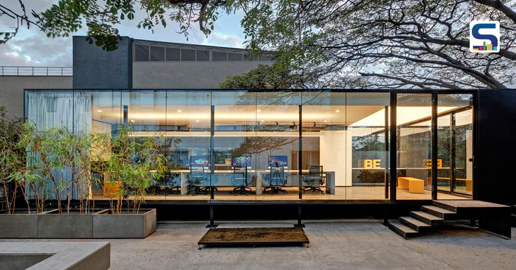 A Simple Transparent Glass Cuboid Forms the Studio Chintala | Workspace