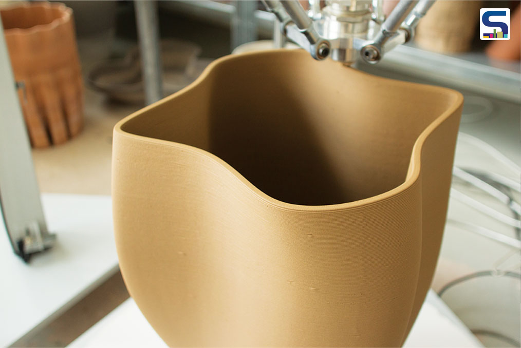 In the early days the 3D printed ceramic vases and bowls seemed rough, with the layers clearly visible.
