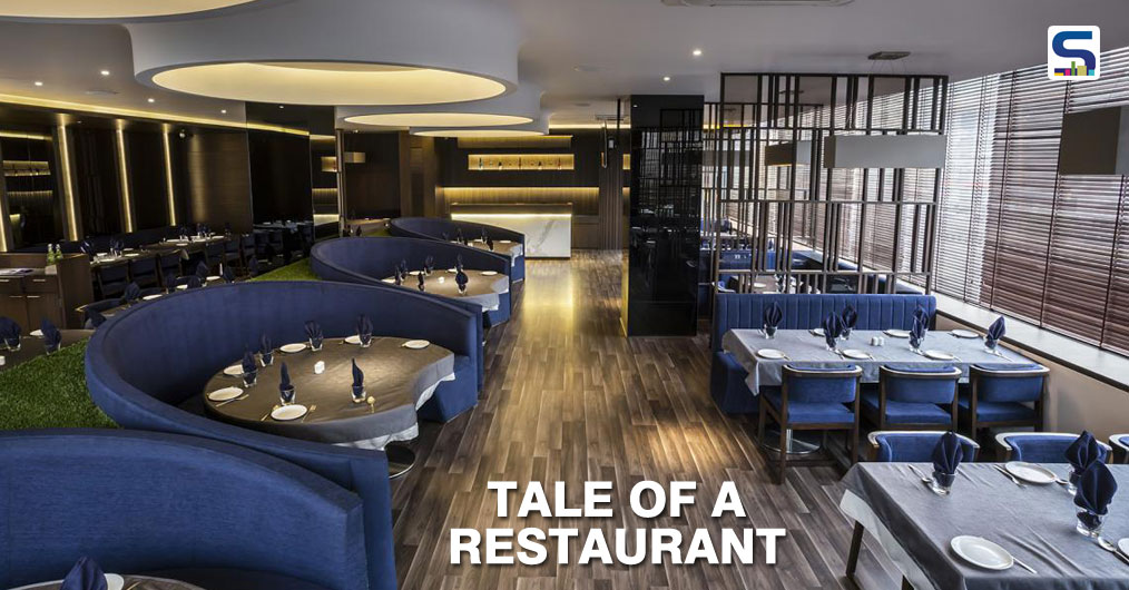 The space is longitudinally divided into two halves to create transition space and working zones on the sides. Planning of overall restaurant is such that there are different clusters of seating depending on the privacy required. Amazing play of dramatic light and color is done.