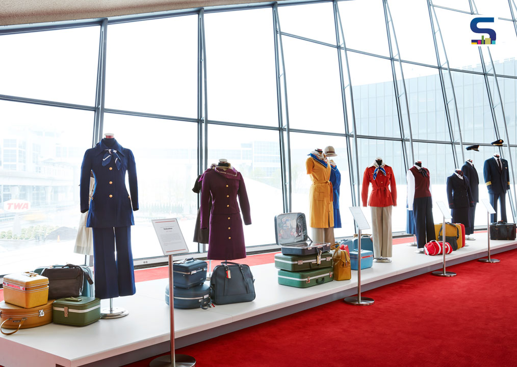 Come fly with us! A collection of vintage TWA crew uniforms — including those designed by Valentino, Stan Herman and Ralph Lauren — on display at the TWA Hotel.