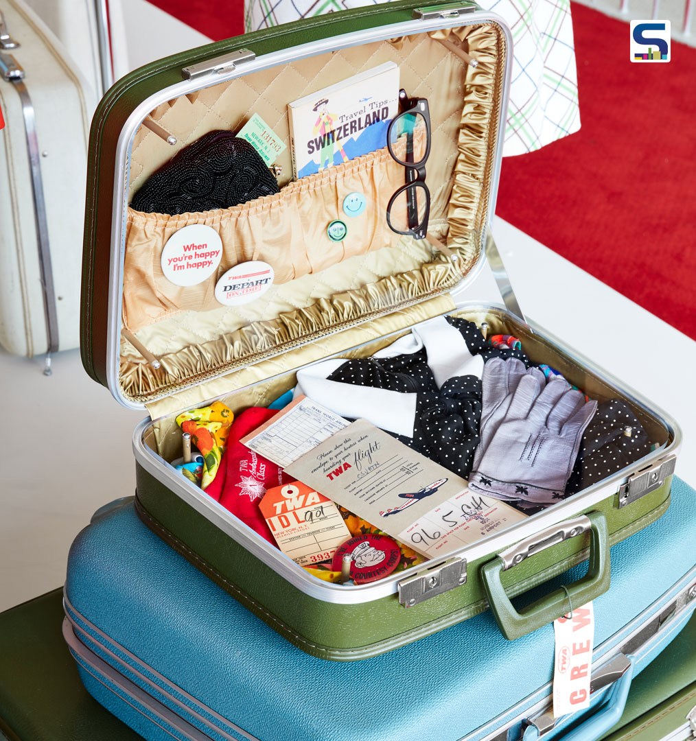 Traveling in style: a vintage suitcase packed with retro TWA ephemera is exhibited at the TWA Hotel.