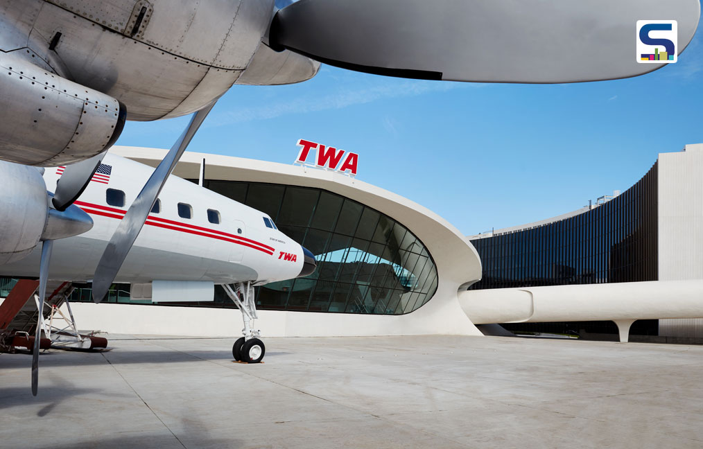 "Wind beneath her wings! The TWA Hotel's 1958 Lockheed Constellation ""Connie"" airplane has been transformed into a cocktail lounge."