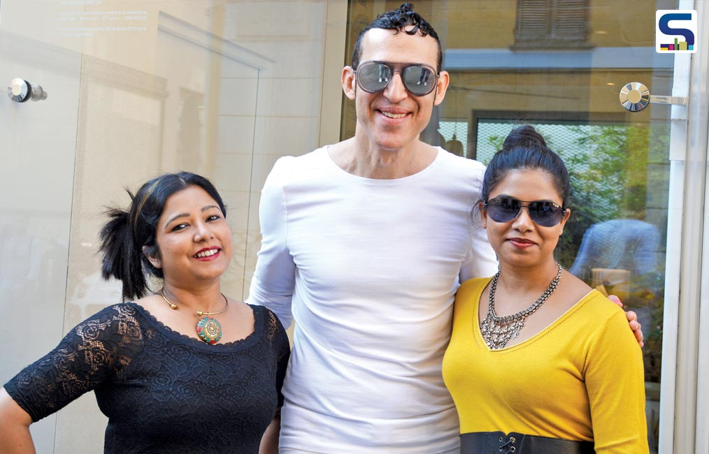 Vertica Dvivedi and Madhurima with designer Karim Rashid