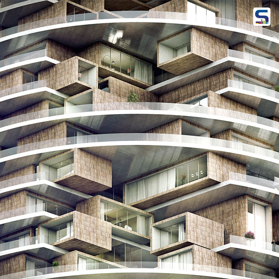 The radical geometric design displays the Tehran and Iranian architectural concept. The 'Farmanieh' residential tower is a living concept created in collaboration by ZAAD studio and Marz design.