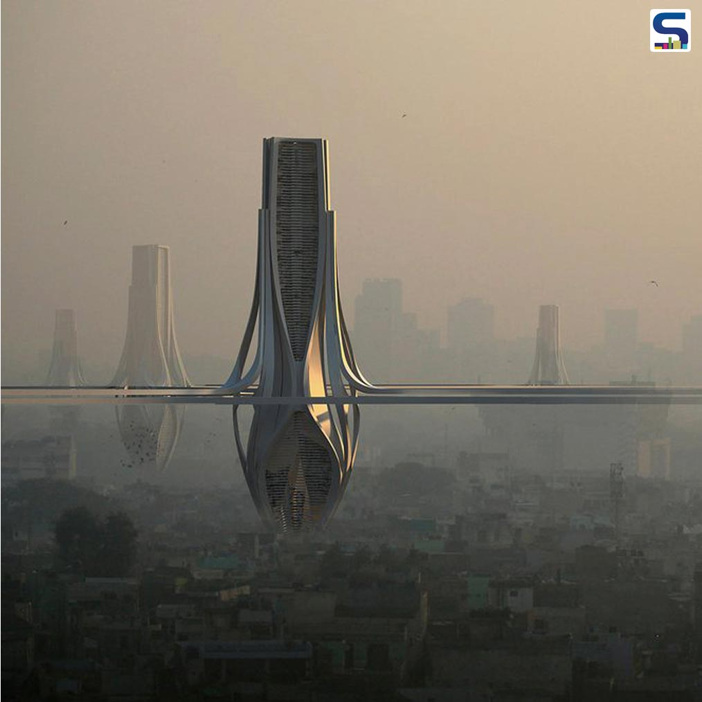 To clean Delhi's polluted air, Dubai-based architecture firm, Znera Purposed to Design 100-metres high pollution absorbing towers.