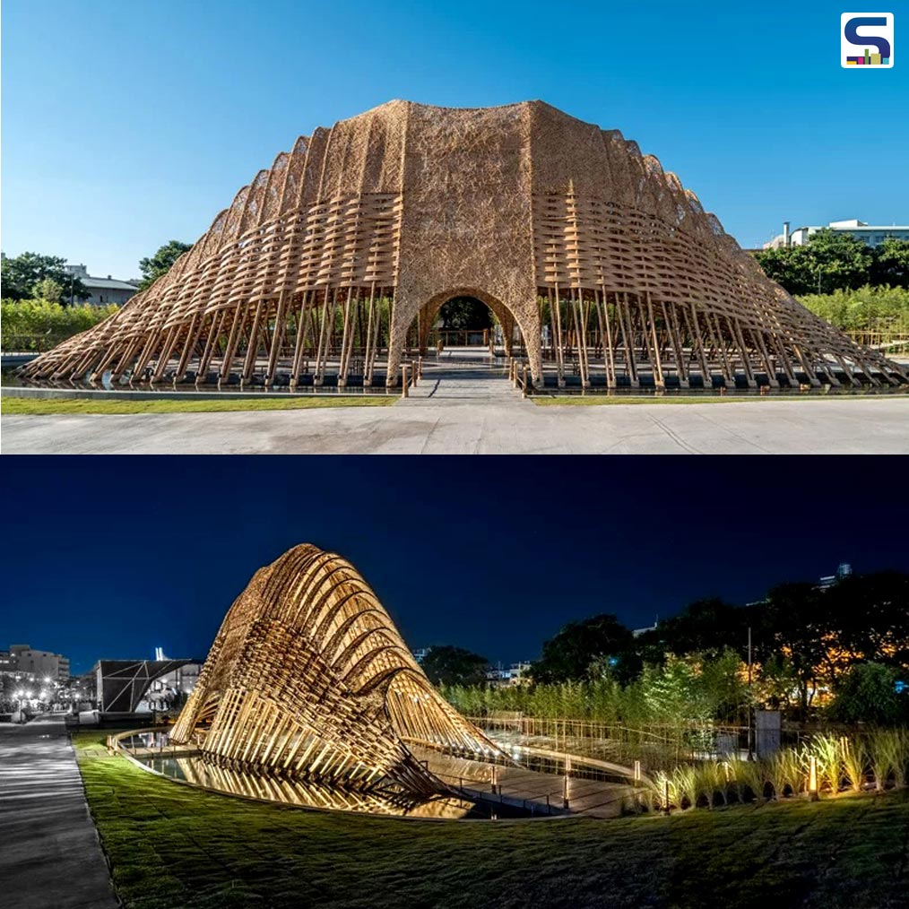 ZUO studio has created a 'Bamboo Pavilion' exhibition hall in Taichung, which is known as the industrial city of Taiwan. It is created as a 'Taichung World Flora Exposition' to showcase the natural beauty of Taiwan.