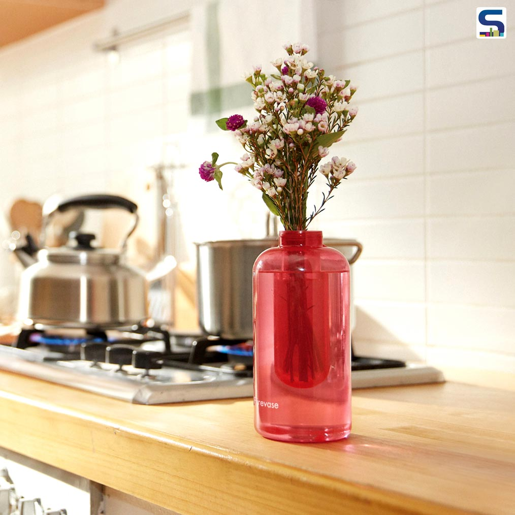 Appearing to be a simple flower vase made from translucent red glass for decorative purpose, this is actually a fire extinguisher designed by subsidiaries of the Samsung corporation to merge into the interior where it can be within easy reach in case of an emergency.
