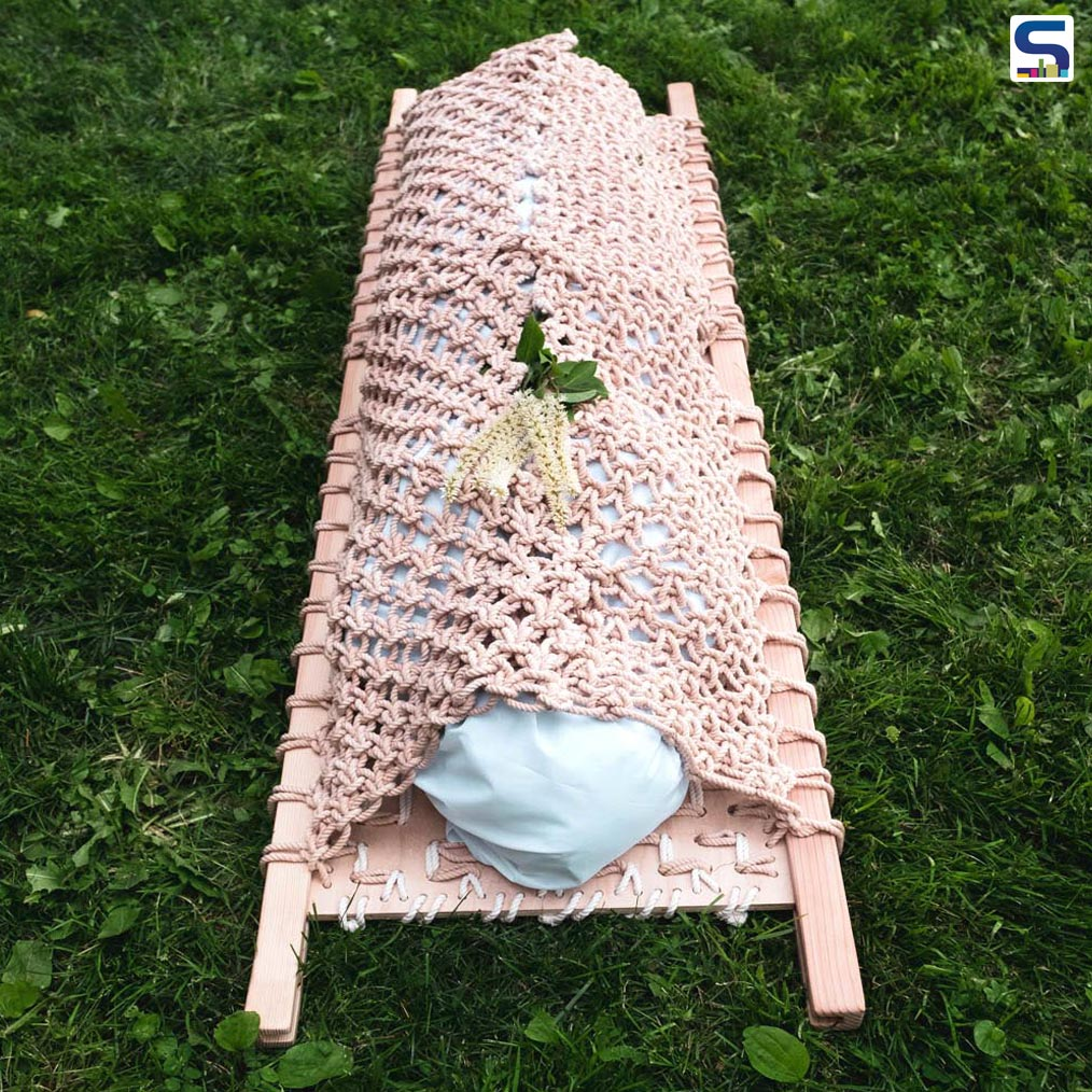 New York designer Shaina Garfield redesigned death with a textile coffin- Leaves- which is made from sustainable material such as fungus.