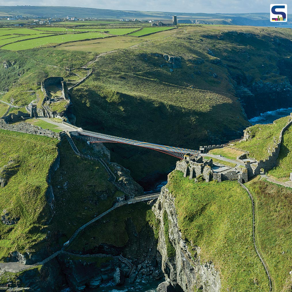 For the first time in more than 500 years, the two separated halves of Tintagel Castle will be reunited thanks to a daring new footbridge unveiled by the charity English Heritage on 8 August 2019.