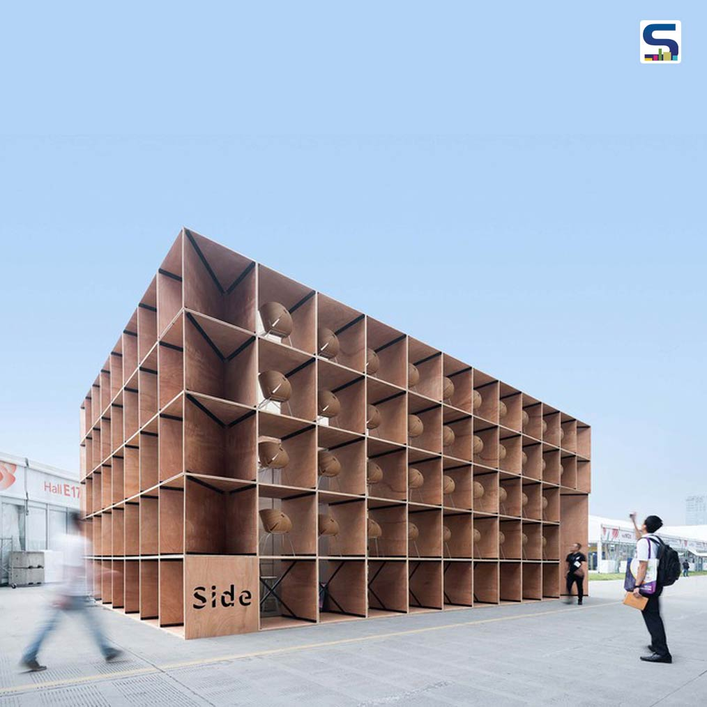 A Furniture Pavilion S has been converted into 410 hexagonal plywood chairs and tables
