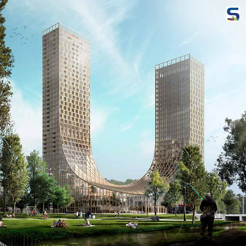 Two Connected Hybrid Timber Skyscrapers
