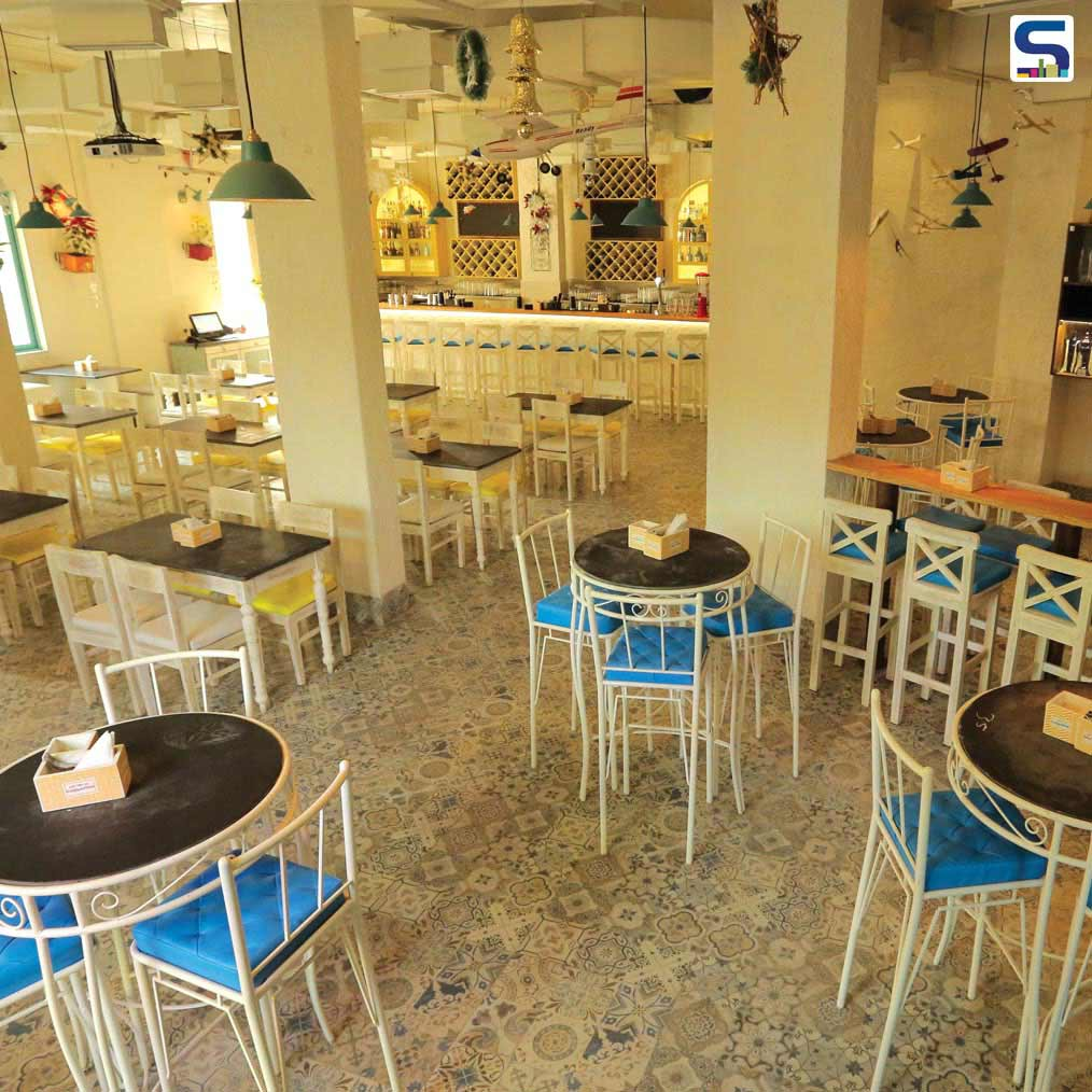 Hoppipola Restaurant with  Bright & Sturdy Floors designed by Spiro Sepro, Mumbai