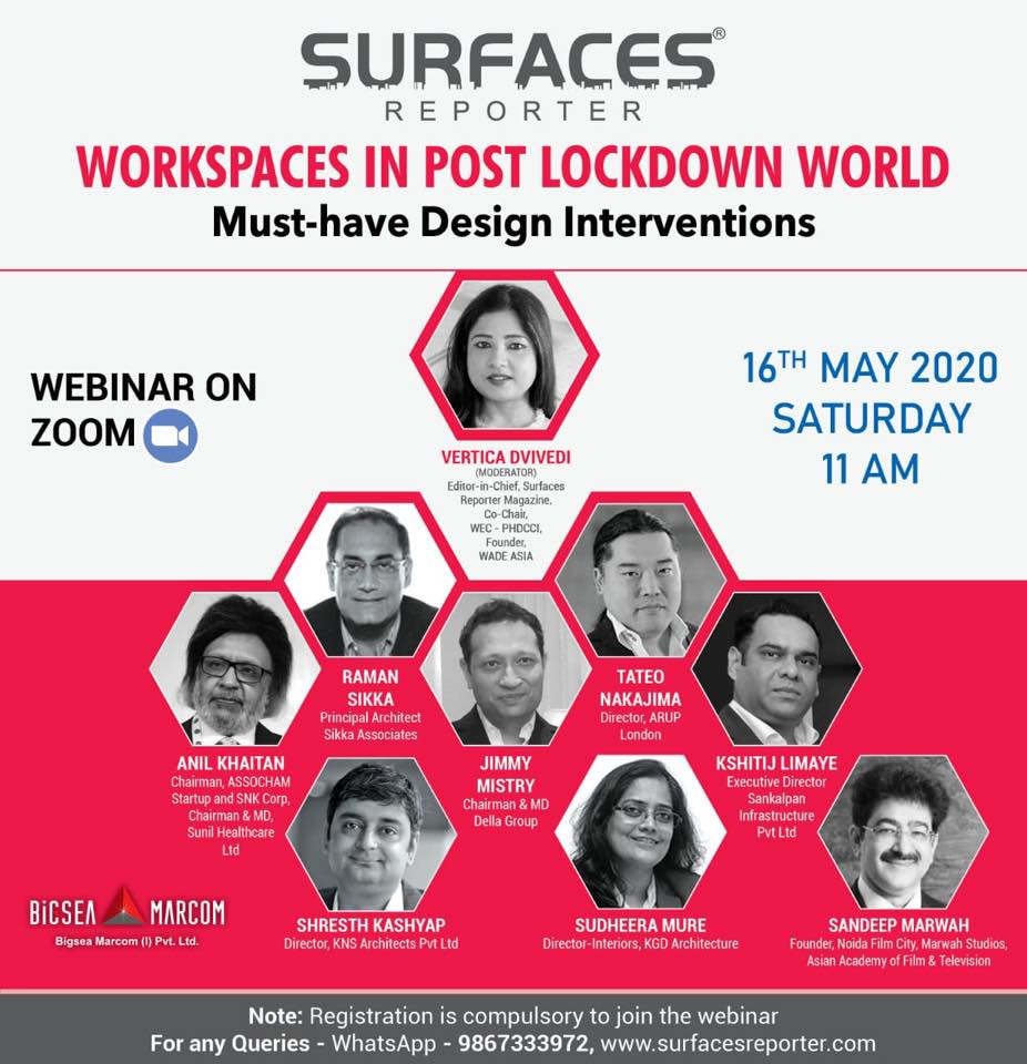 "Webinar ""WORKPLACES IN POST LOCKDOWN WORLD"" - By Surfaces Reporter"