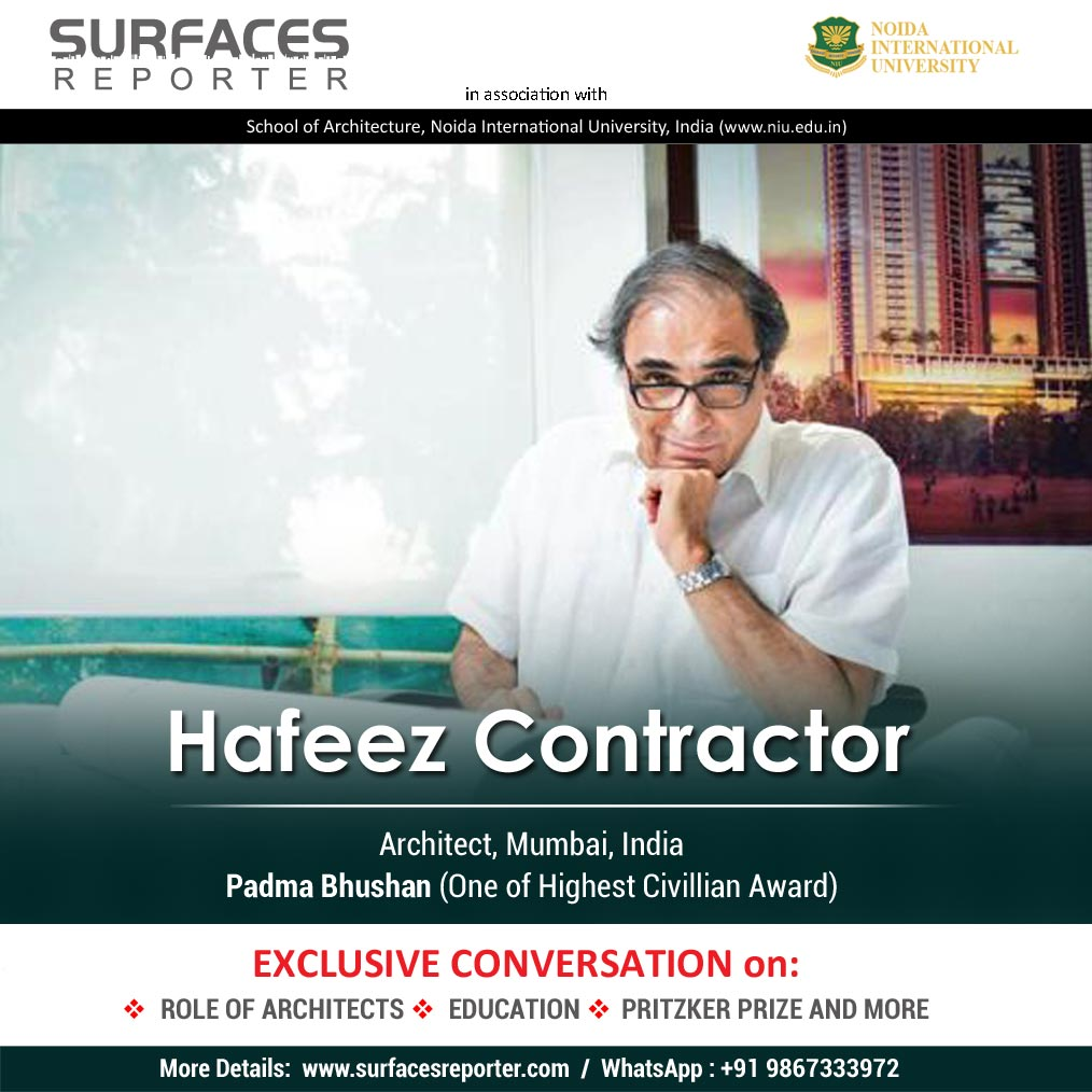 Architect Hafeez Contractor and Martha Thorne on SURFACES REPORTER l 30 Nov l Mon l 6 PM l Register