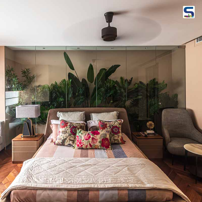 Beautiful Green Plants Feature the Master Bedroom Wall of This Delhi House | Ar Abhigyan Neogi|