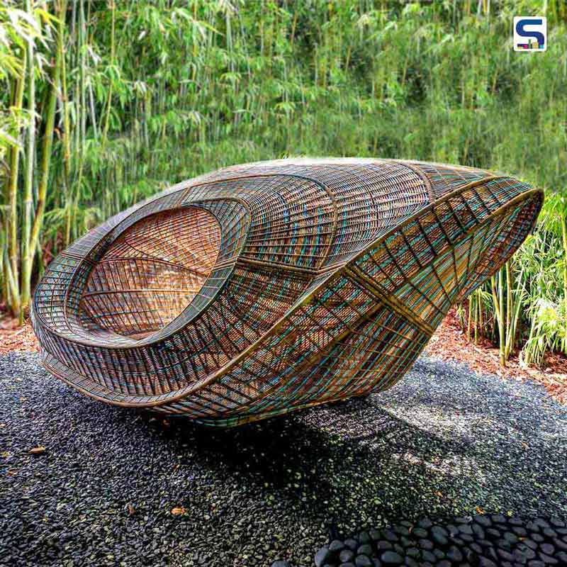 The Ellipsicoon Pavillion made with woven strands of 100% recyclable polyethylene