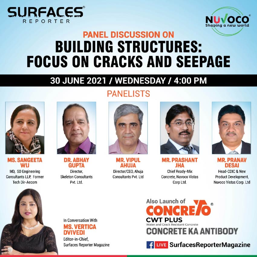 Join | Building Structures & the issues due to Cracks & Water Seepage | June 30, 4PM | SURFACES REPORTER